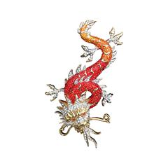 Sparkling Red Chinese Dragon Pin by Butler and Wilson. Huge.