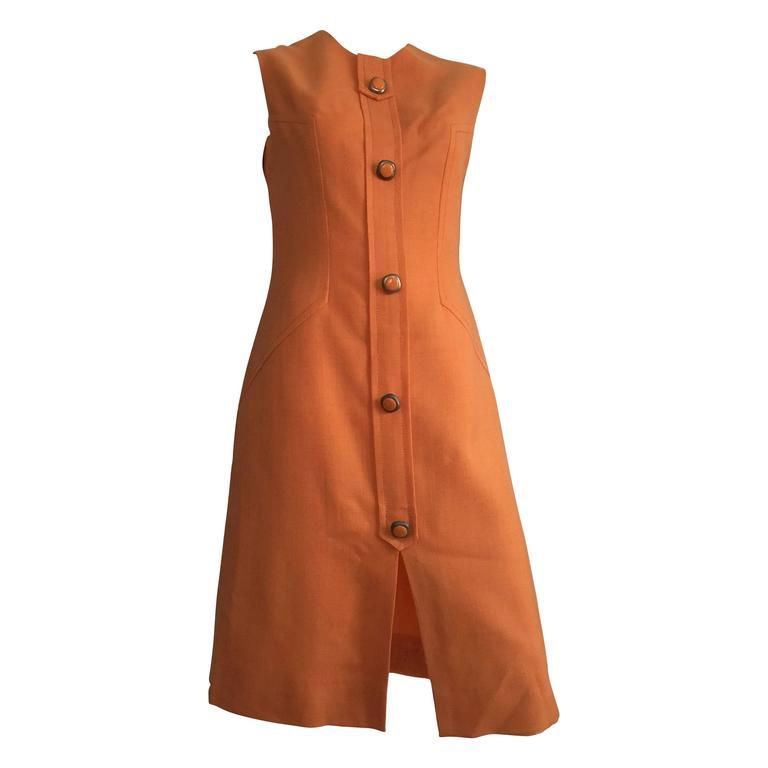 Anne Sorrente 60s Orange Wool Sleeveless Dress Size 8. 1