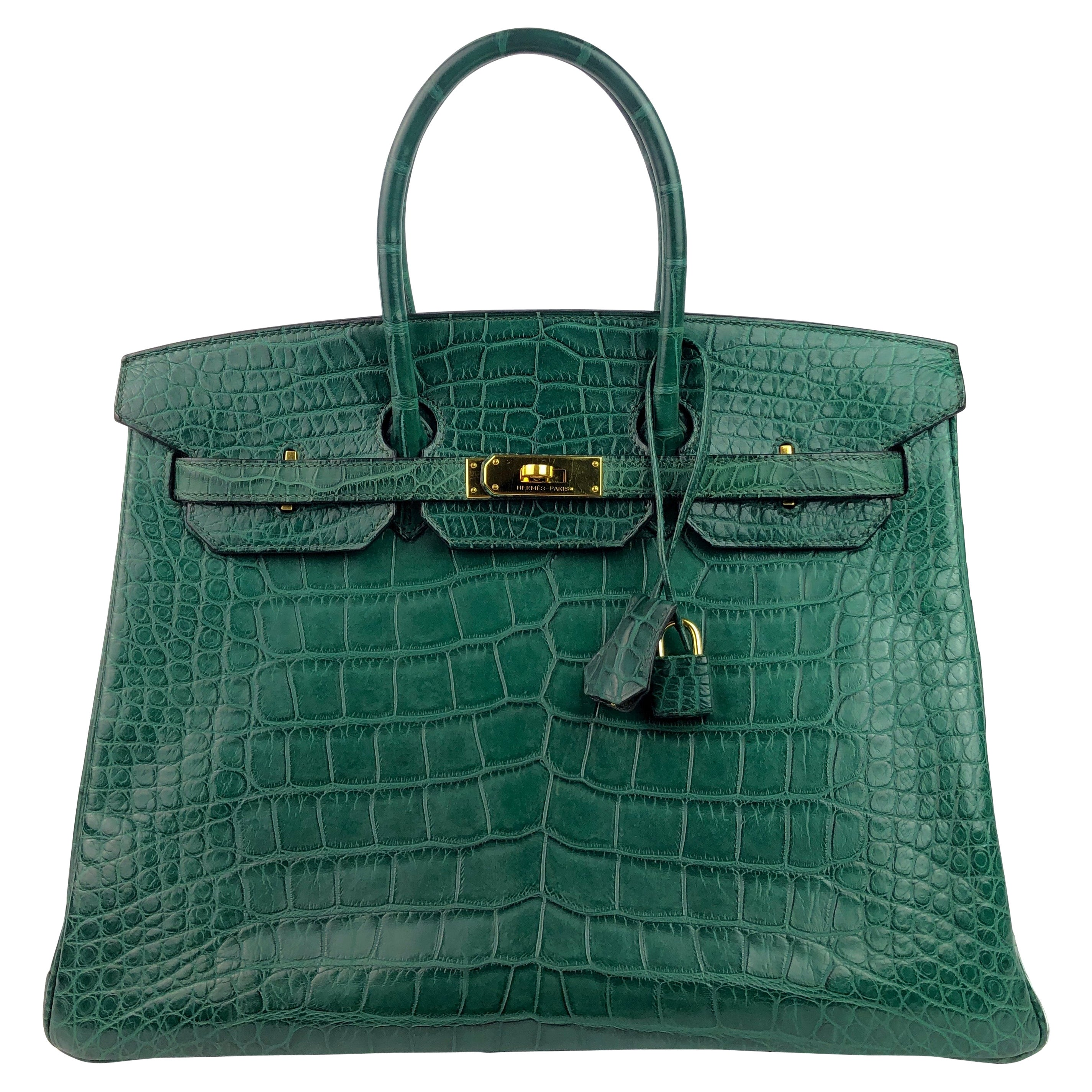 Hermes Birkin 35 Vert Titien Dark Green Matte Alligator Gold Hardware