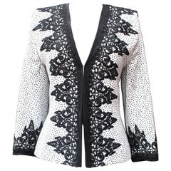 1990s Jean-Louis Scherrer Couture Black and White Jacket