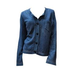 Chanel Blue Knit Cardigan