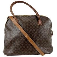 Celine Vintage Brown Macadam Canvas Bag with Shoulder Strap