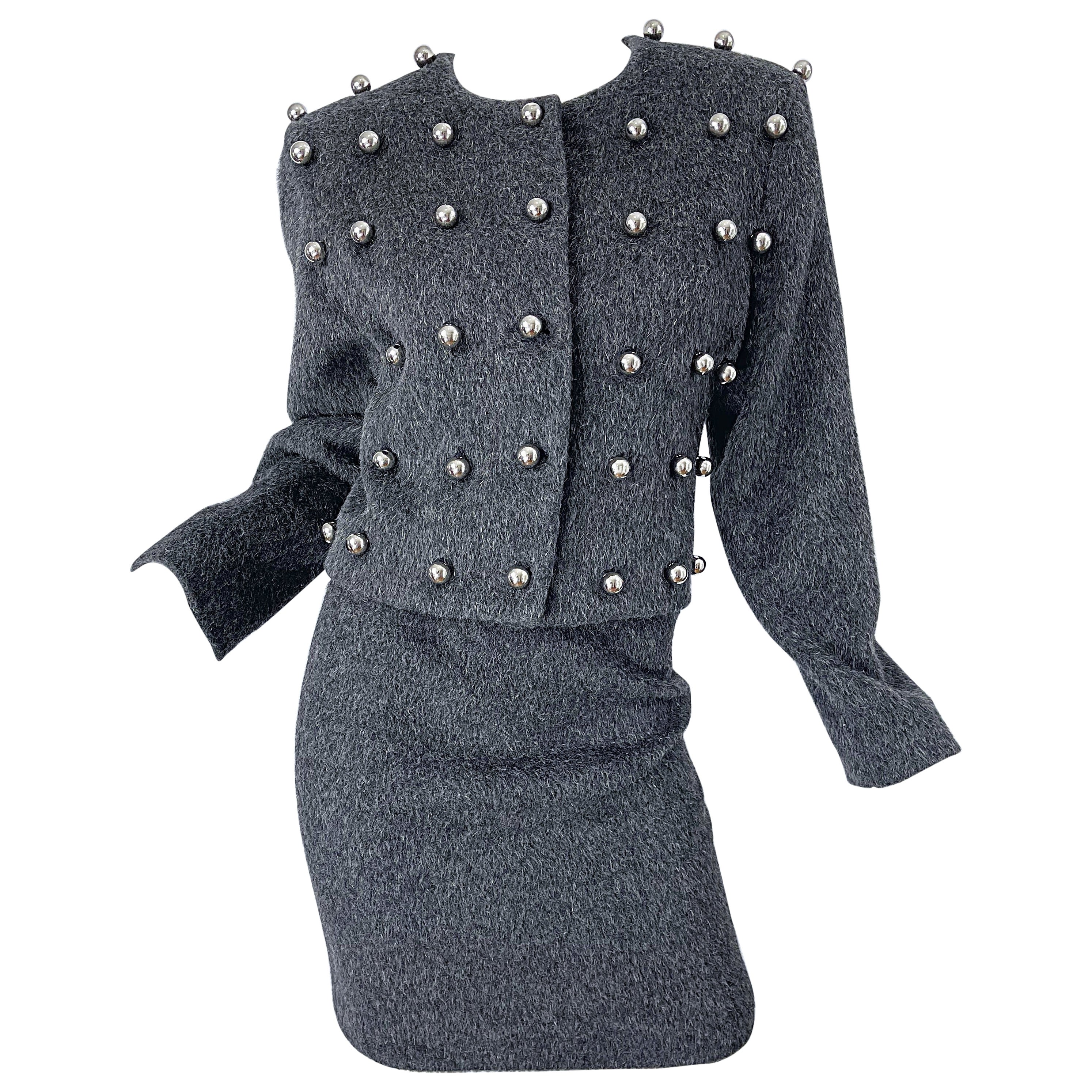 Patrick Kelly 1980s Charcoal Grey Silver Studded Balls Vintage 80s Skirt Suit