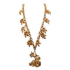 1980s Leonard Gilt Pansy Flowers Long Necklace