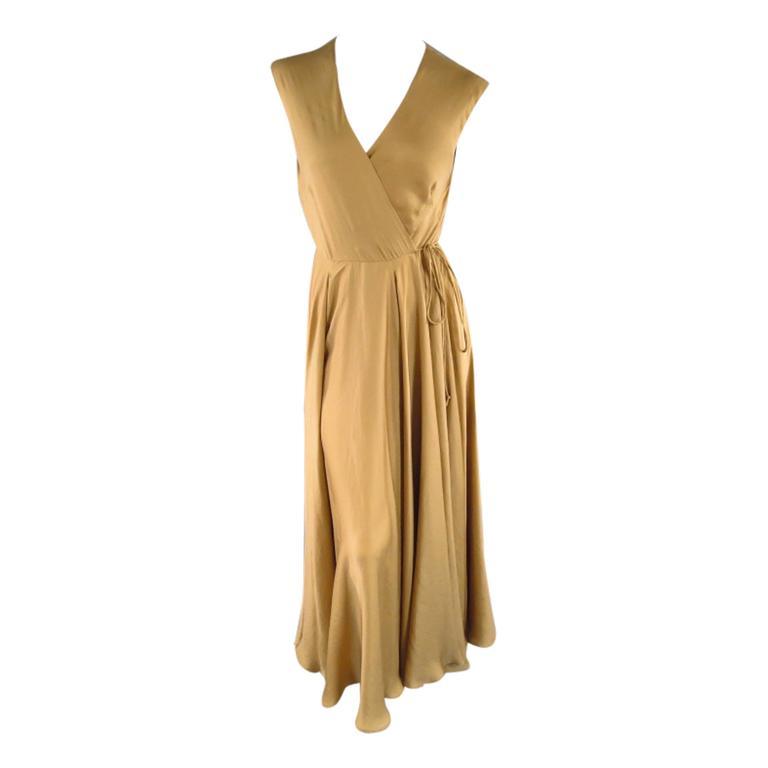 Ralph Lauren Size 6 Gold Silk Lined Satin Wrap Maxi Dress For