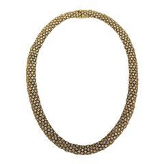 1980s Ciner swarovski Crystal Choker Necklace Goldtone-New Old stock