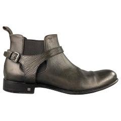 LOUIS VUITTON Size 12 Slate Antique Leather Harness Boots