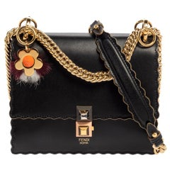 Fendi Black Leather Small Scalloped Kan I Crossbody Bag