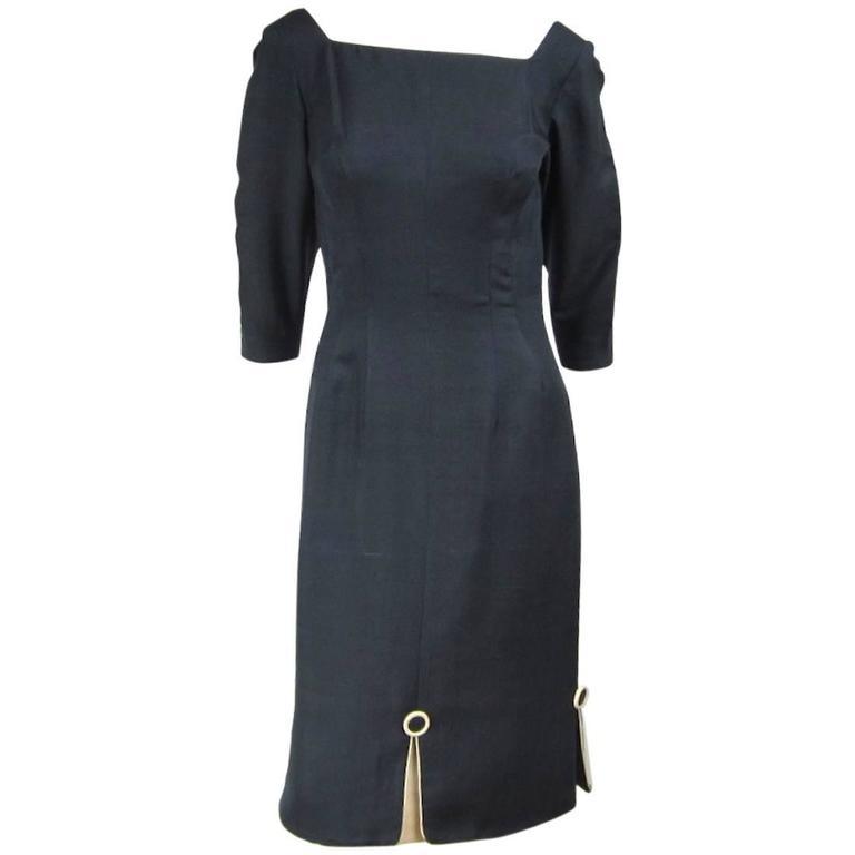 Mr. Blackwell 1960's Silk Buttons Dress
