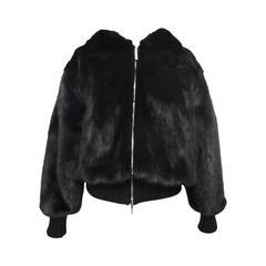 New Gianni Versace Double Blouson Mink Jacket with Hood
