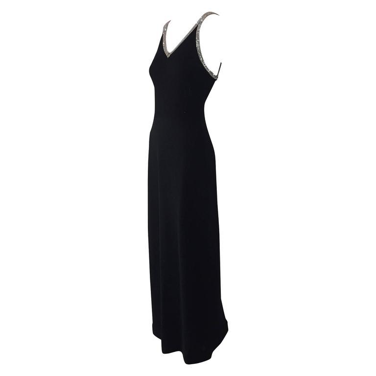 1970s Lillie Rubin Black Knit Bazaar Dress With Rhinestone Straps