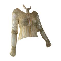1970s Loris Azzaro Renaissance-Inspired Gold/Silver Knit Top w/ Chain Fringe