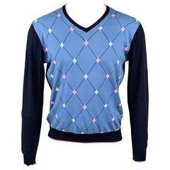 MASSIMO REBECCHI Size M Blue & Navy Argyle Cotton V-Neck Pullover
