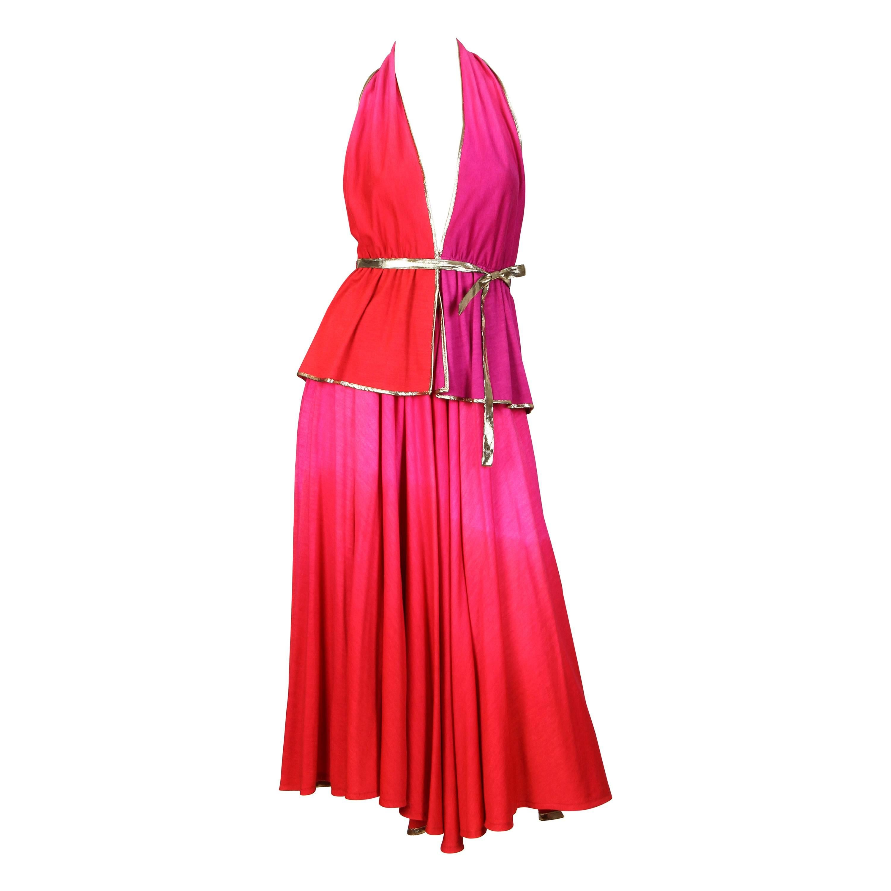 1970S GIORGIO SANT'angelo Pink & Purple Wool Jersey Ombré Dyed Halter Top Skirt