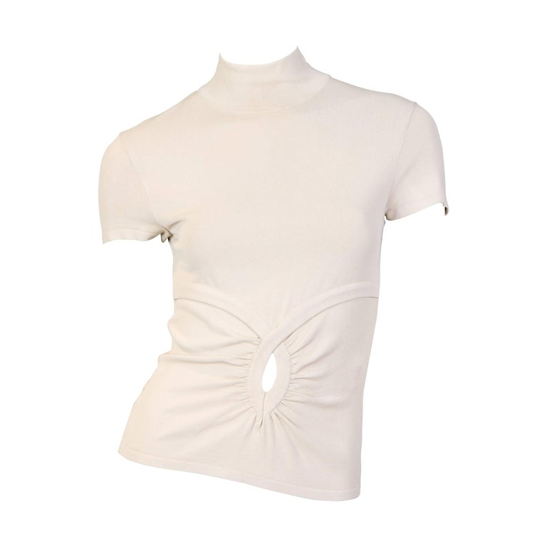 1990S VALENTINO Beige Viscose Blend Jersey Knit Top For Sale