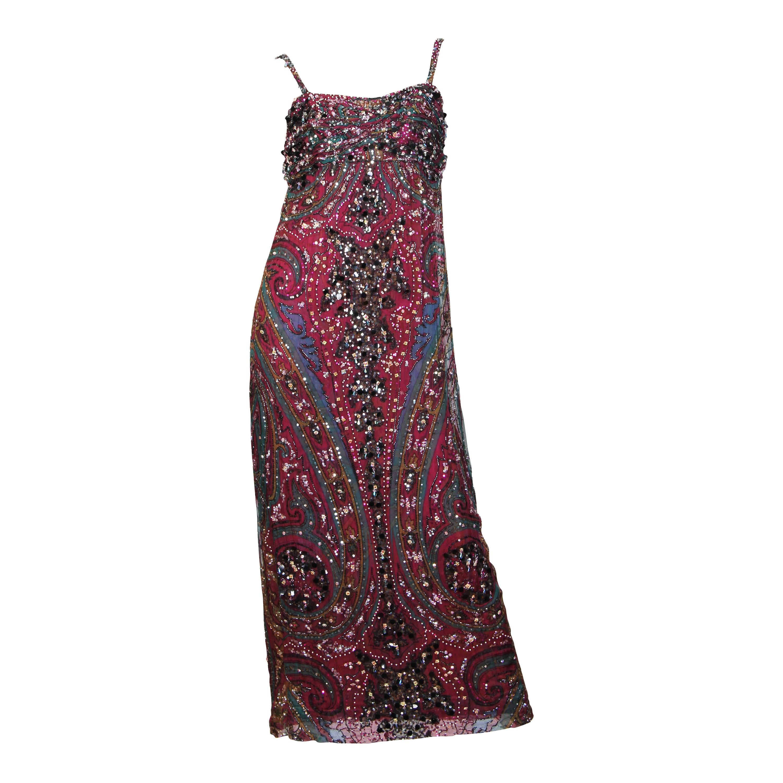 1970S GALANOS Cranberry Red Paisley Silk Chiffon Empire Waist Crystal Beaded Go