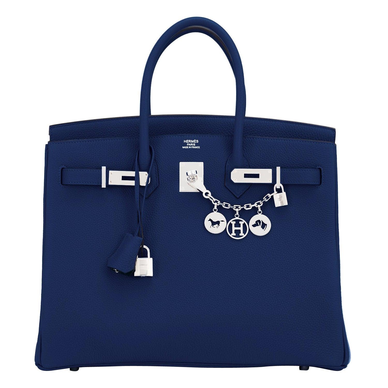Hermes Birkin 35cm Blue Nuit Deep Navy Togo Palladium Birkin Bag Y Stamp, 2020