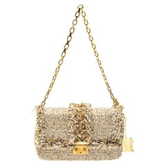 Dior Beige Tweed Medium Miss Dior Flap Bag