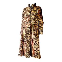 Rare Christian Dior Couture Tiger Stencil Pony Hair Coat 1950s