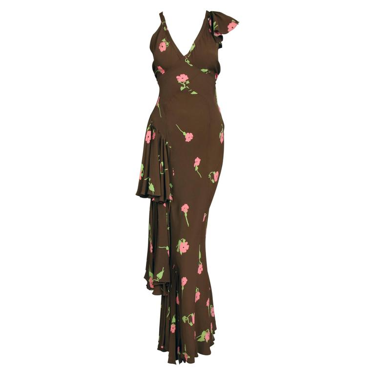 An Ossie Clark Bias-Cut Crepe Evening Gown w/Celia Birtwell Floral Print For Sale