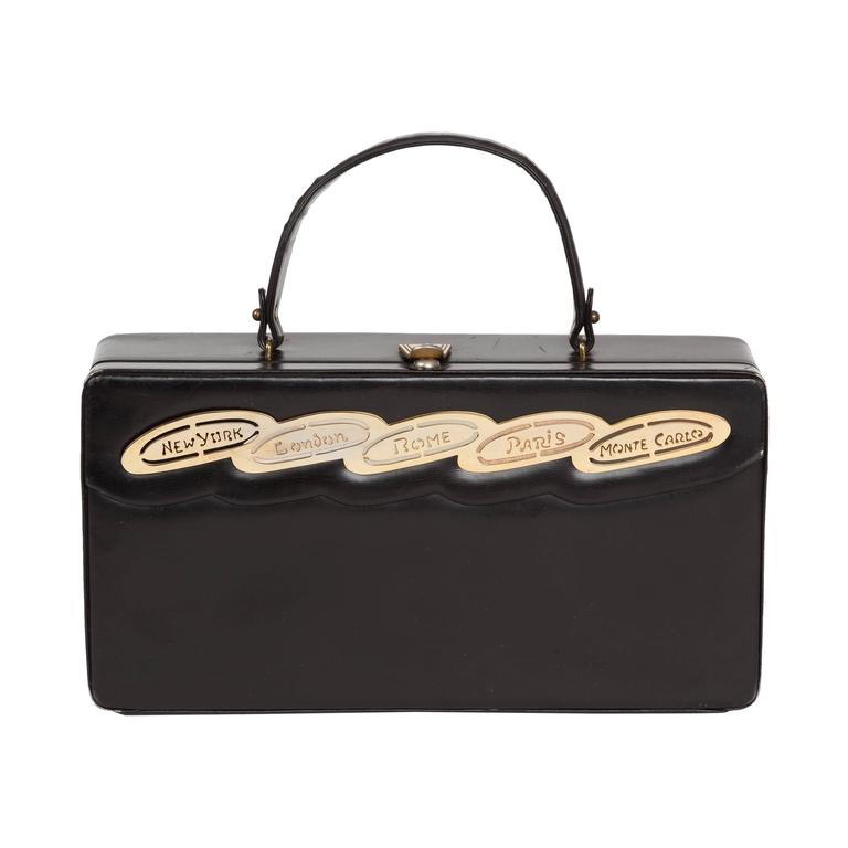 1960s Prestige Black Calfskin Rectangular Destination Bag Box Purse w/City Names