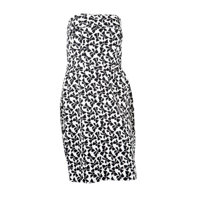 Saint Laurent Strapless Cocktail Printed Dress, 1990s