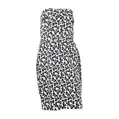 1990s Saint Laurent Strapless Cocktail Printed Dress
