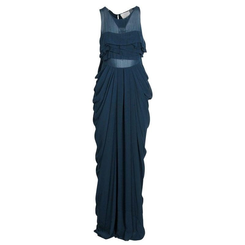 3.1 Phillip Lim Blue Chiffon Draped Cowl Detail Sleeveless Maxi Dress S