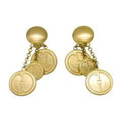 1990s Gucci Gold plated drop style earrings