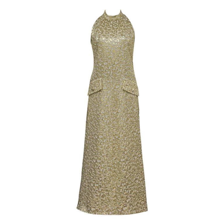 Jean Patou A-line lurex brocade gold evening dress, c.1968 For Sale