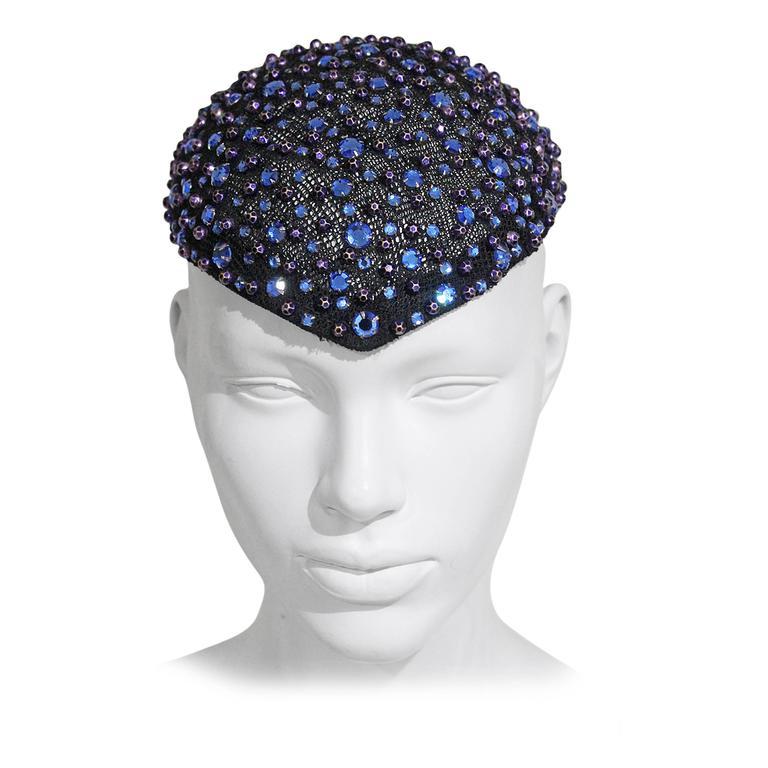 Frank Olive rhinestone embellished skull cap, c. 1950s