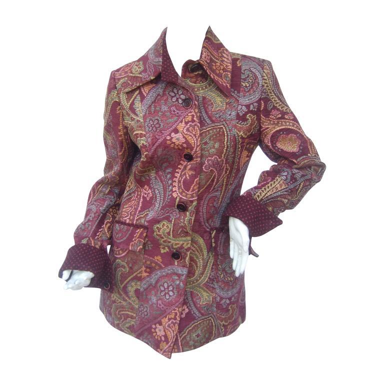Etro Burgundy Paisley Tapestry Jacket Size 44