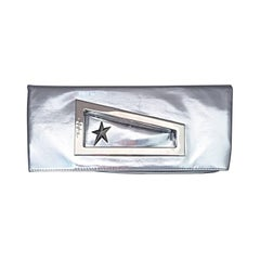 Amazing Vintage Thierry Mugler Silver Metallic Fold Over Clutch Purse Bag NEW