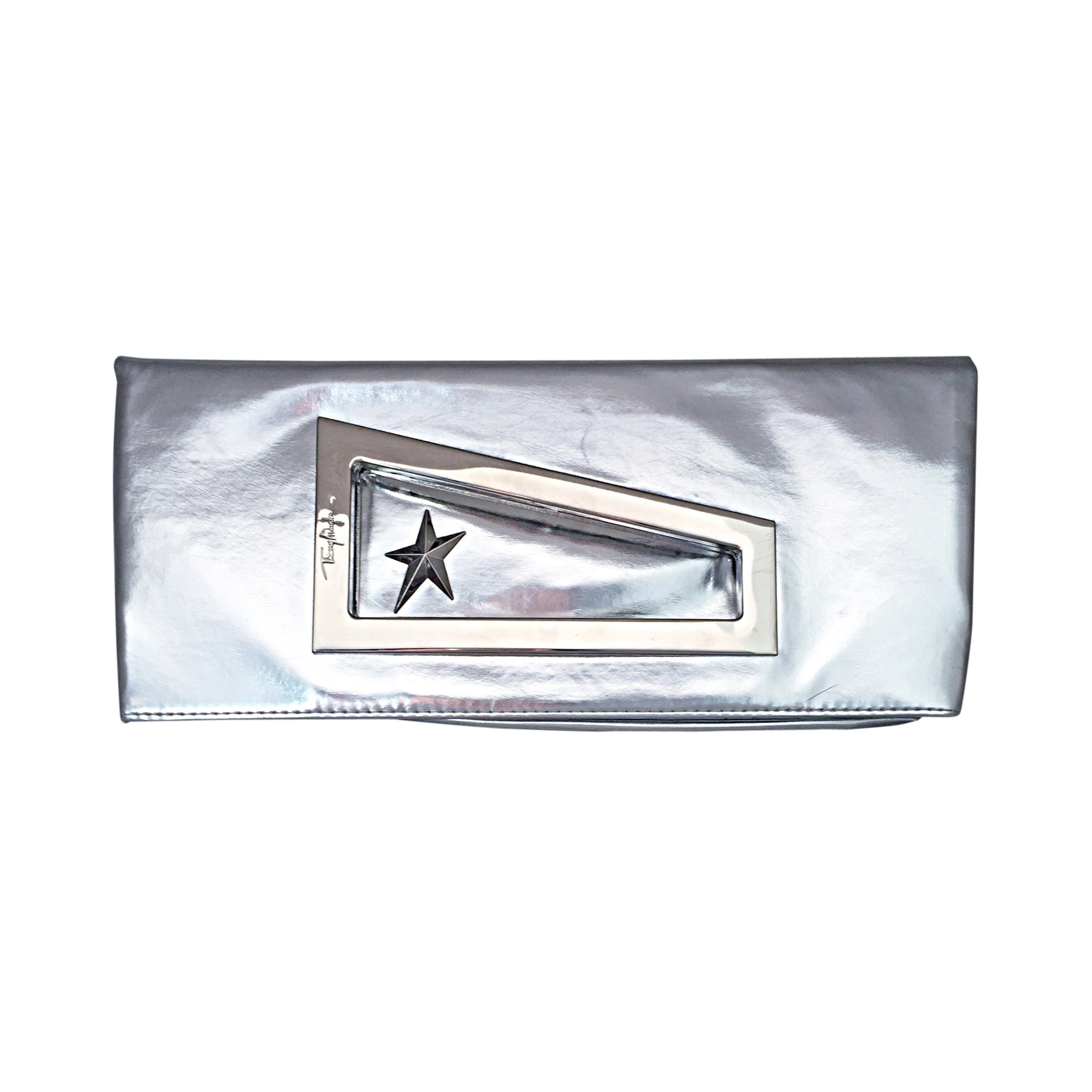 0eb2d81865805 Amazing Vintage Thierry Mugler Silver Metallic Fold Over Clutch Purse Bag  NEW For Sale at 1stdibs