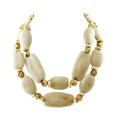 Chanel Double Strand Bone Necklace With Double C Logo Rondels