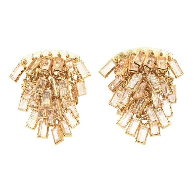 Italian Pair of  Vintage Gold Tone and Cascading Glass Sculptural Earrings For Sale