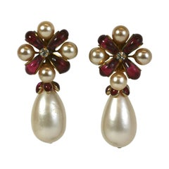 Chanel Ruby Pate de Verre Bow Earrings, Gripoix