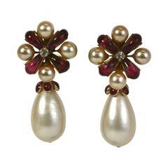 Chanel Ruby Pate de Verre Bow Earrings, Gripoix