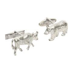 Pair of Sterling Silver Jeweler Made Bull & Bear Cufflinks