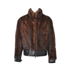 Mink and Leather Cropped Jacket