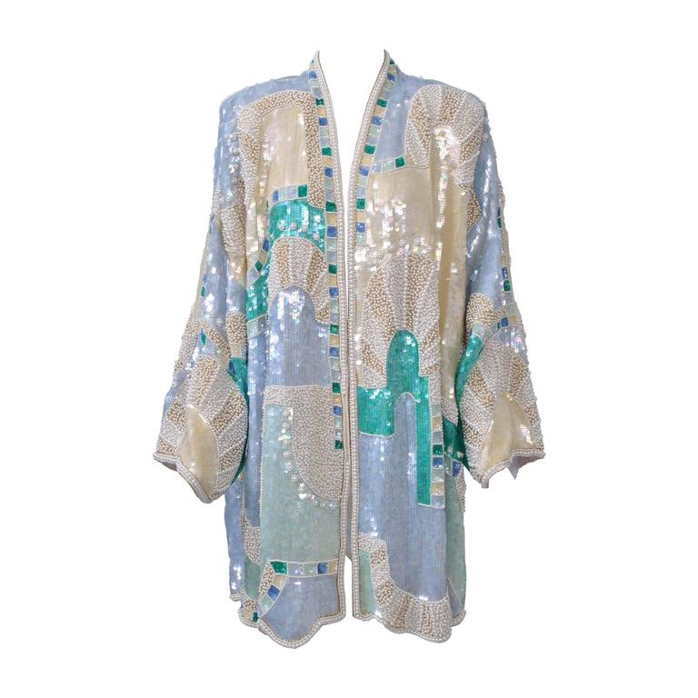 Pastel Beaded Evening Coat For Sale