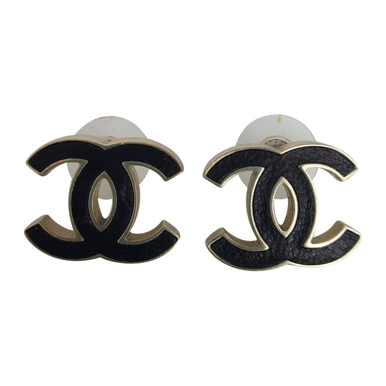 "Chanel Black And Soft Gold ""CC"" Logo Pierced Earrings From 2012. 1"