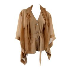 HERMES Nude Beige Silk Organza Draped Wing Sleeve With Scarf Button Up Blouse