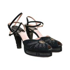 1940s Black Suede and Silver Detailed Platform Shoes