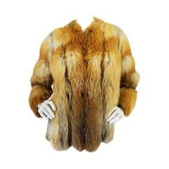 Stunning 1970s Natural Red Fox & Suede Fur Jacket