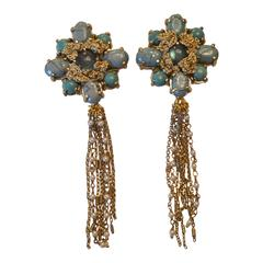 St. Erasmus Floral Fringe Clip Earrings