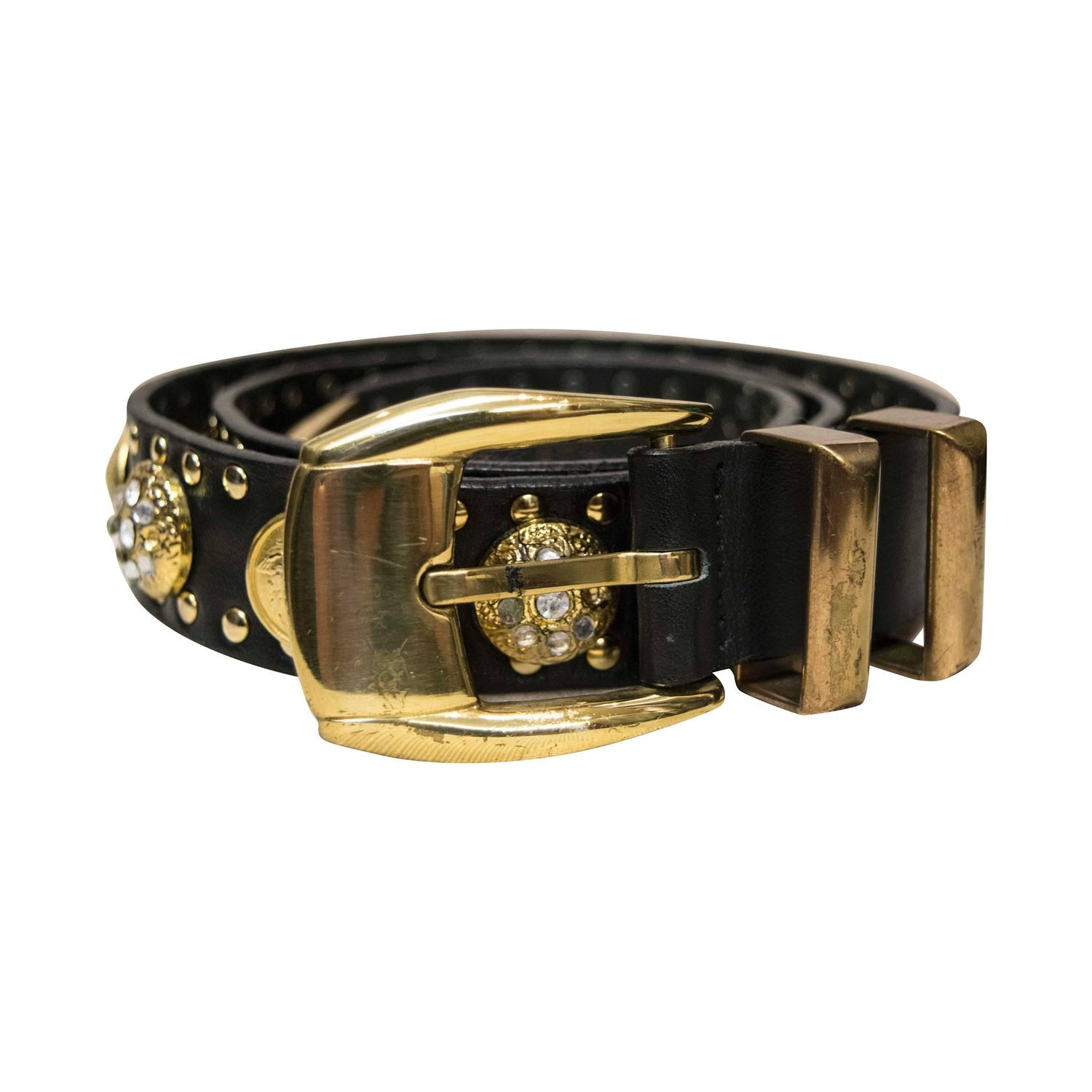 1990s versace leather belt with gold studs at 1stdibs