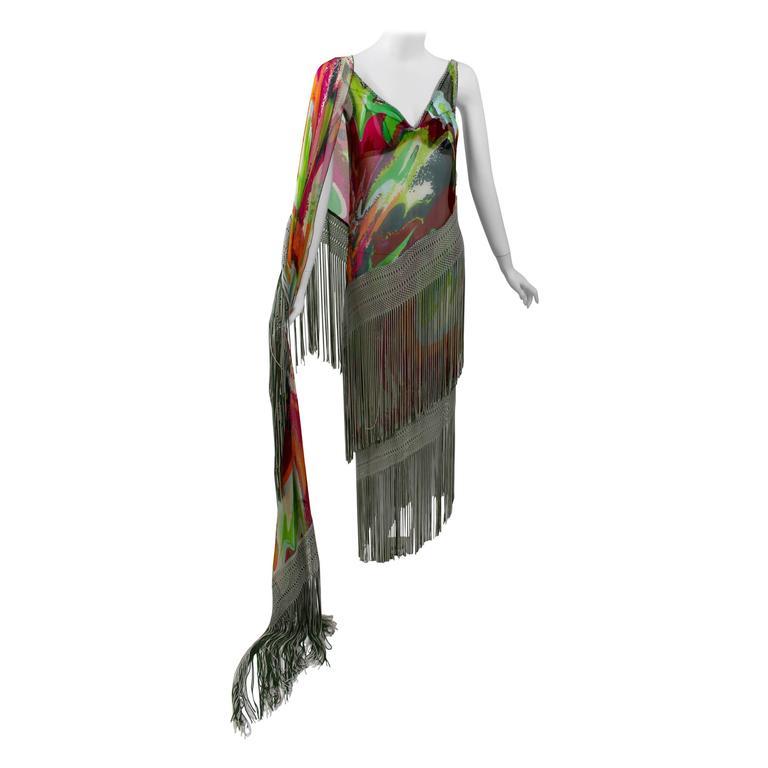 Missoni Runway 2004 Silk Colorful Fringe Scarf / Cape Dress