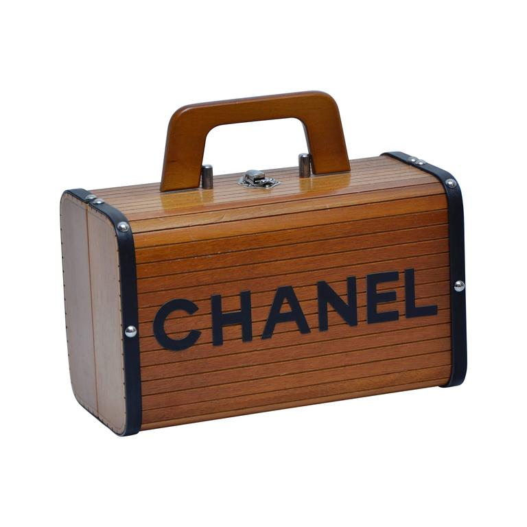 Rare Vintage Chanel Wood & Leather Handbag Seen On Ulyana Sergeenko For Sale