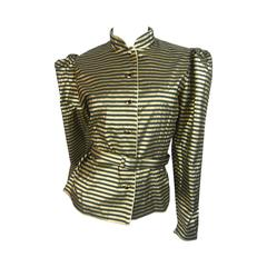 1980s Scorpion Black and Gold Lame Striped Blouse